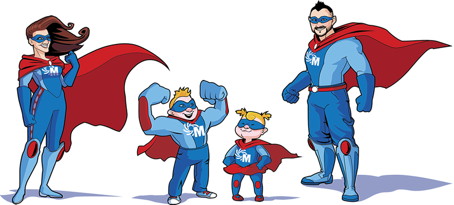 Animated image of Ben, wife, and kids dressed up as super heroes with company logo